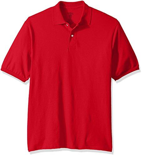 Jerzees Men's Spot Shield Short Sleeve Polo Sport Shirt, True Red, (3 Button Golf Shirt)