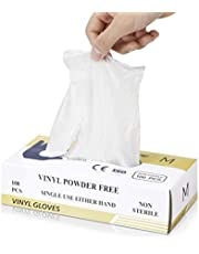 Multi-Purpose Vinyl Gloves, Powder Free, Disposable, Extra Strong - Box of 100 - Size M