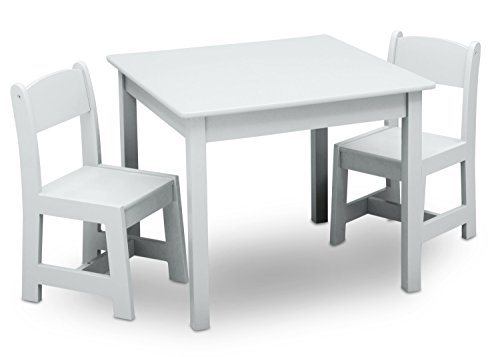 Delta Children MySize Table & 2 Chairs Set, Bianca White (Chairs Set White Table And)