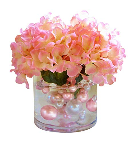80 NO HOLE Blush Light Pink and White Pearls - Jumbo and Assorted Sizes Vase Fillers for Decorating Centerpieces - To Float the Pearls - Order with Transparent Water Gels