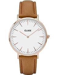 Cluse Womens La Boheme 38mm Brown Leather Band Metal Case Quartz White Dial Analog Watch CL18011