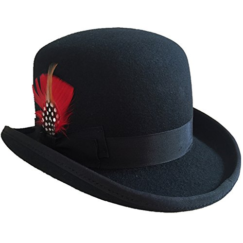 Hanshow Wool Men's Derby Bowler Felt Hat (Medium-57cm(7 1/8)) Black -