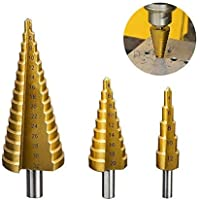 Juego de Brocas C/ónicas de Cono Escalonado HSS de 1//4Broca para Taladros Brocas Escalonadas Hexagonales de Metal Recubiertas de Titanio 3-12 mm 3-12 mm 4-12 mm 4-20 mm