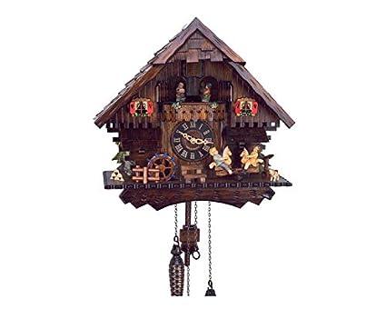 RELOJESDECO Aleman reloj de cuco 35cm Caballitos espectacular carrusel, reloj de cuco con movimiento,