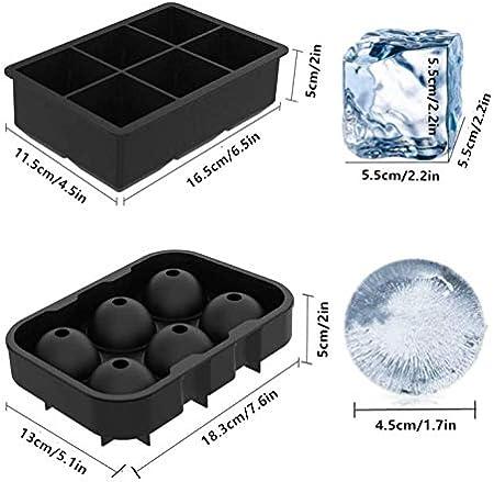 Bandeja para cubitos de hielo,moldes grandes para cubitos de hielo, de silicona negra, 6 moldes gigantes de cubitos de hielo, para dulces pudín, gelatina, zumo, chocolate o cócteles, whisky.(2 piezas)