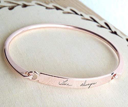 Gold bangle, Custom handwritten bar bracelet, Personal engraved signature cuff, Memorial Keepsake Gift, Rose gold name bangle.