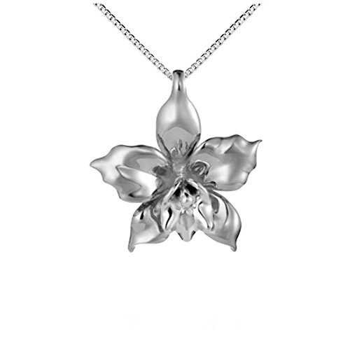 Large Orchid Sterling Silver 925 Pendant Necklace