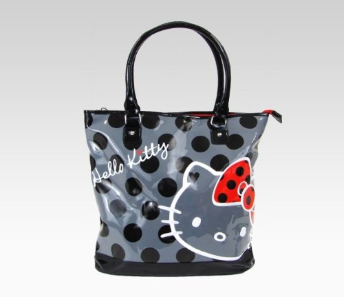 Sanrio Hello Kitty Shoulder Tote Bag: Black Polka Dot