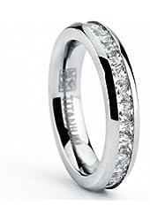 3MM High Polish Princess Cut Ladies Eternity Titanium Ring Wedding Band with CZ Size 4 To 9
