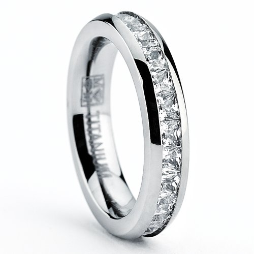 Titanium Cubic Zirconia Band - Metal Masters Co. 3MM High Polish Princess Cut Ladies Eternity Titanium Ring Wedding Band with Cubic Zirconia CZ Size 8