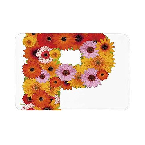 C COABALLA Letter P Durable Door Mat,Flower Arrangement with Gerbera Daisies Colorful Palette Alphabet P Symbol Print Decorative for Living Room,17.7