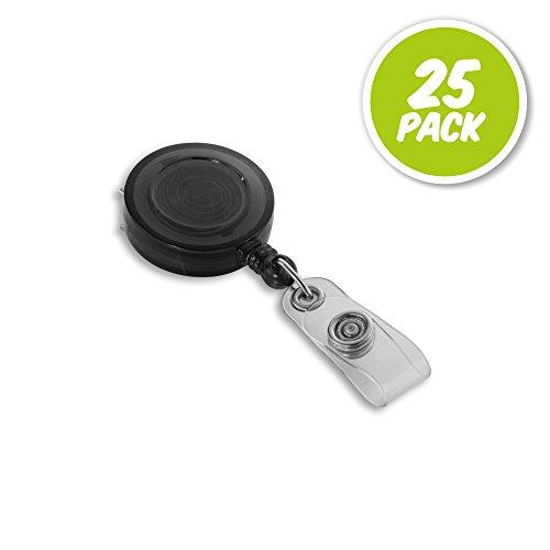 25 Pack - Round Translucent ID Badge Reel Holder- Black (Reel Badge Round Black)