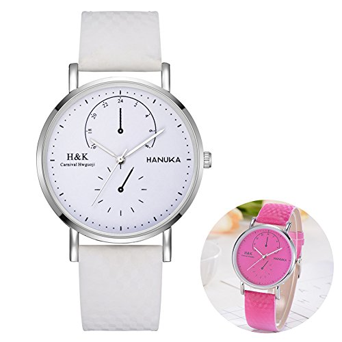 Changing Color Watch (Braceus Sunlight Color Changing Simple Faux Leather Girl Women Quartz Analog Wrist Watch - Rose Red)