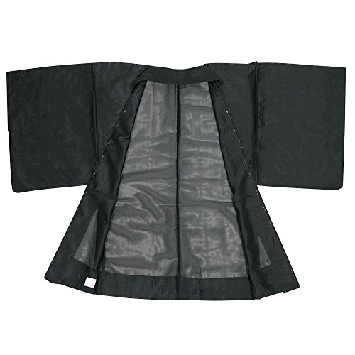 KYOETSU Men's Japanese Haori Jacket Komaro Kimono Summer Washable (Small, Black) by KYOETSU