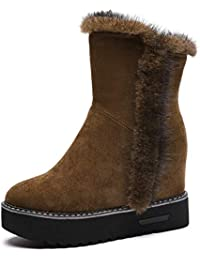 Womens Faux Fur Ankle Boots for Women, Warm Hidden Wedge...