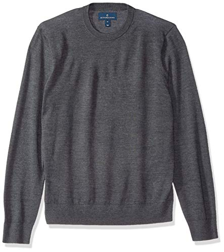 (BUTTONED DOWN Men's Italian Merino Wool Lightweight Cashwool Crewneck Sweater, Dark Grey, X-Large)