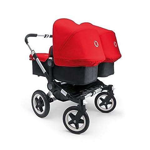 Bugaboo Donkey Twin Stroller Bundle, Aluminum Base with Red Tailored Fabric Set (Donkey Twin)