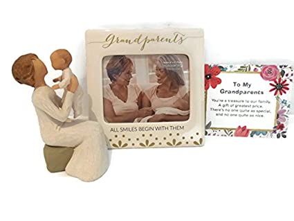 Willlow Tree Grandmother Figurine Bundle With Enesco Grandparents Smiles Photo Frame Best Mothers Day