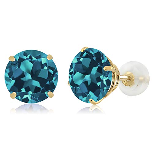 - Gem Stone King 5.00 Ct Round 8mm London Blue Topaz 14K Yellow Gold Stud Earrings