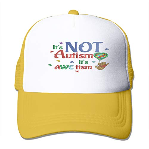 Zhiwei Station It-is-Not-Autism-it-is-Awetism-Looks-Likes-Winnie-The-Pooh-Holding-a-Ballon Unisex 3D Printed Trucker Hat Yellow ()