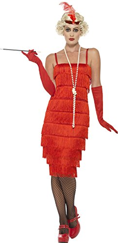 [Smiffy's Women's Flapper Costume, Long Dress, Headband and Gloves, 20's Razzle Dazzle, Serious Fun, Size 14-16,] (Red Halloween Kids Costumes)