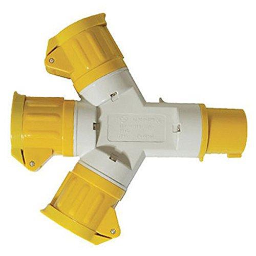 SODIAL 399015 16A 3-Way Splitter 110V 3 Pin Multi-Socket Connector Three-Way Plug