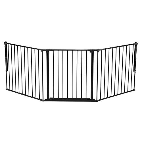 BabyDan Flex 35.4-87.8 Large Size Adjustable Metal Safety Baby Gate & Room Divider Fence for Children & Pets, Black