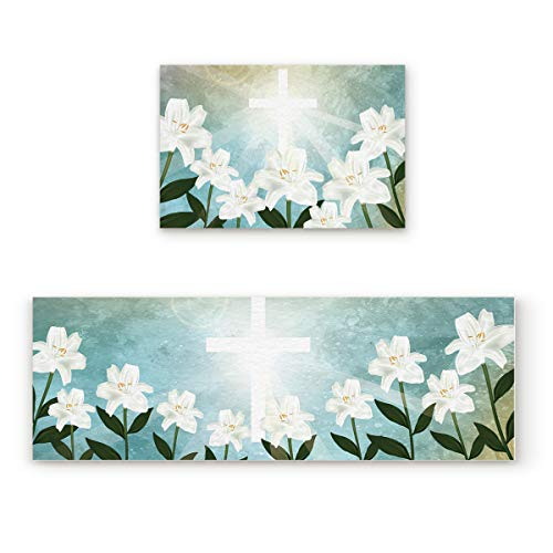 Aomike 2 Piece Non-Slip Kitchen Mat Rubber Backing Doormat Holy Light Crucifix and White Lily Flower Runner Rug Set, Hallway Living Room Balcony Bathroom Carpet Sets (23.6