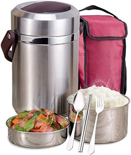 Kk 大人とOffice用保冷ランチバッグ付きランチボックスステンレス鋼の漏れ防止の食品保存容器、ランチ弁当広口ステンレス鋼の真空漏れ防止フードジャー、 (Size : 2.0L)