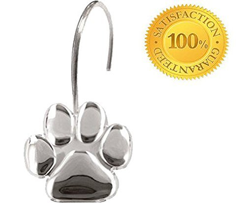Paw Print - Shower Curtain Hooks, Polished Chrome,, Includes a Set of 12 - Give Your Restroom What It Deserves Now!