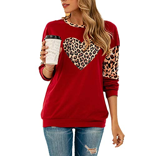 Women Leopard Heart Print Shirts Long Sleeve Color Block Tunic Casual Pullover Tops Dark Red