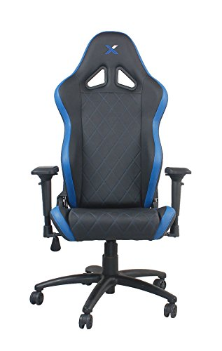 41eq2huAFoL - Ferrino-Line-Blue-on-Black-Diamond-Patterned-Gaming-and-Lifestyle-Chair-by-RapidX