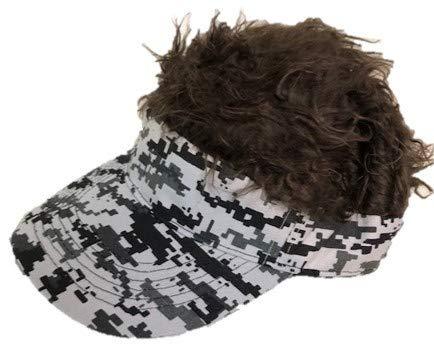〔バリューガーデン〕 フサフサ 髪の毛 フレア バイザー フレアー ウィッグ 付 ヘアー かつら サンバイザー ゴルフ 釣り アウトドア ジョークグッズ SB01