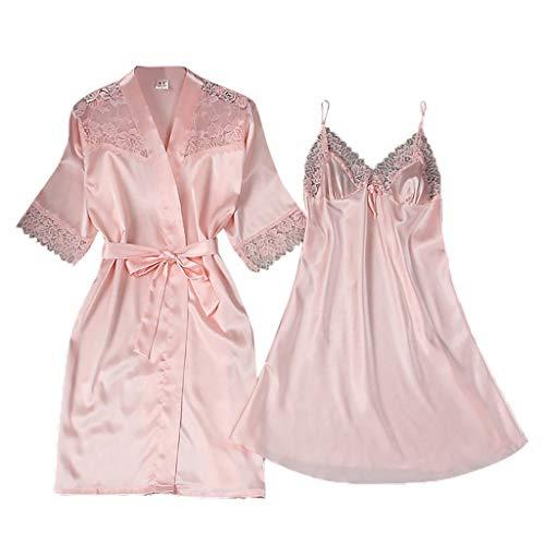 Close-dole Women's Lace Sexy Sling V-Neck Pajamas Robe Nightdress Underwear Home Service Beige ()