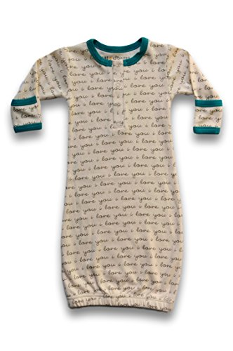 Cat & Dogma Certified Organic Infant/Baby Clothes Ily/Teal Gown (6-12 Months) (Chest Blanket Chinese)