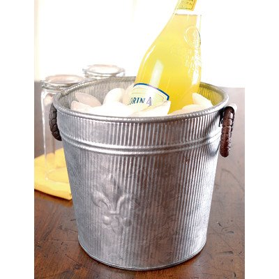Galvanized Ice Bucket for Parties or Metal Planter Tub, Silver with Metal Handles (Fleur Tub Lis De Beverage)