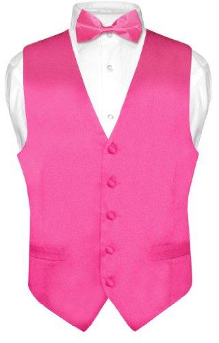 Hot Pink Vest Set - Biagio Men's Silk Dress Vest & Bow Tie Solid HOT Pink Fuchsia Bowtie Set sz 2XL