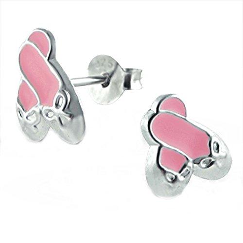 SL-Silver - Pendientes para niños de zapatillas de ballet, plata 925 en caja de regalo