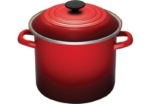 Le Creuset Enamel-on-Steel 8-Quart Covered Stockpot, Cerise (Cherry Red)