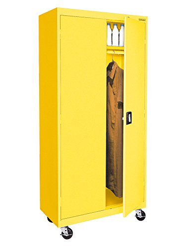 Sandusky Lee TAWR362472-EY Transport Series Mobile Wardrobe Storage Cabinet, - Mobile Transport Storage