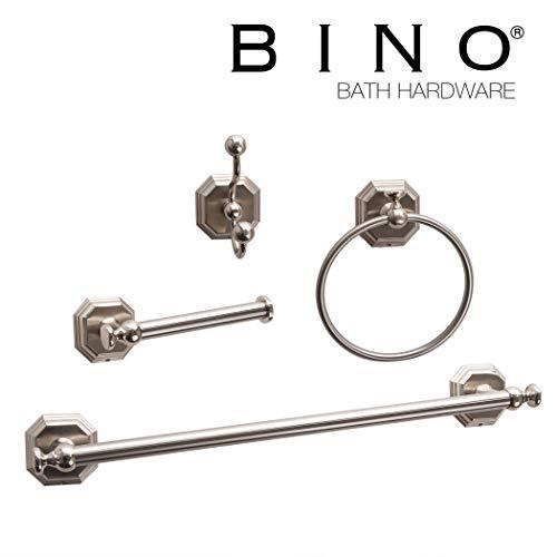 BINO 'Darby' 4-Piece Bathroom Hardware Set with 18-Inch Towel Bar, Brushed Nickel - Bathroom Accessories Set - Bathroom Towel Bar Set Towel Rack Set (Accessories Bathroom Nickel Set Brushed)