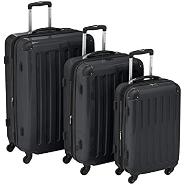 "HAUPTSTADTKOFFER Luggages Sets Glossy Suitcase Sets Hardside Spinner Trolley Expandable (20"", 24"" & 28"") TSA Black"