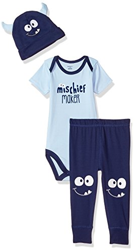 Gerber Baby Boys' 3-Piece Bodysuit, Pant and Cap Set, mischeif Monster 18 -