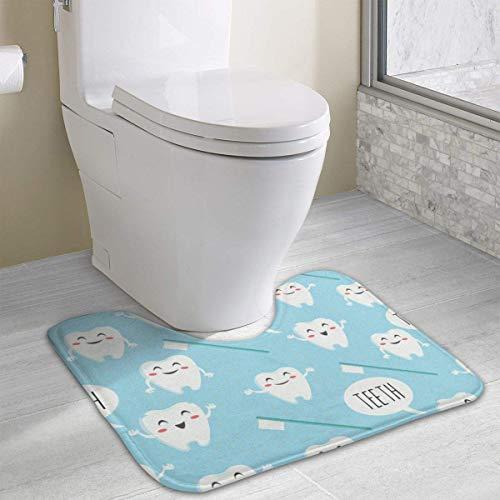 Beauregar Dental Teeth Contour Bath Rugs,U-Shaped Bath Mats,Soft Polyester Bathroom Carpet,Nonslip Toilet Floor MatMachine Wash, 19.2″x15.7″