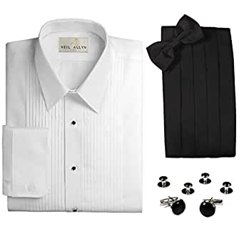 slim fit laydown collar tuxedo shirt cummerbund bow tie