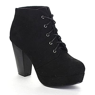 Forever Camille-86 Women's Comfort Stacked Chunky Heel Lace Up Ankle Booties, Black
