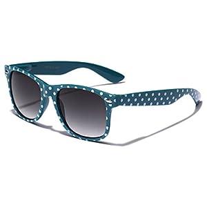 Polka Dot Retro Fashion Wayfarer Sunglasses - 100% UV400 - Turquoise