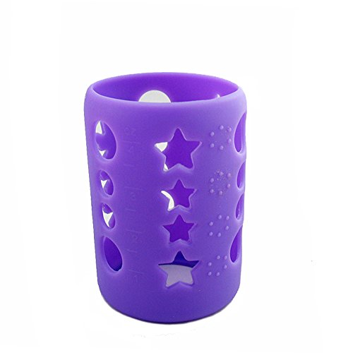 - Savior Glass Baby Feeding Milk Bottle Sleeve Silicone Bottle Cover Protect Insulating (S 120ml, Purple)