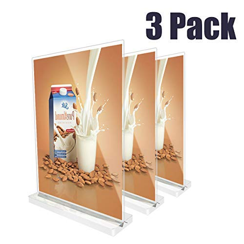 HUAZI Acrylic Sign Holder Table Top Menu & Card Display Stand for 8.5 x 11 inches for Hotel, Conferences, Events, Business (3 Pack)