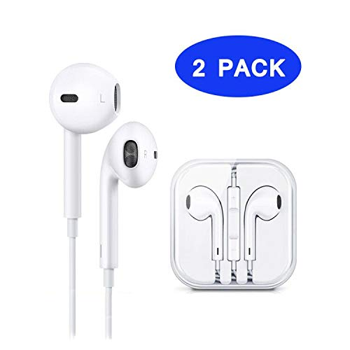 2 Pack Earphones/Earbuds/Headphones/EarPods White Noise Isolating Headset Compatible with Apple iPhone 6s/6 Plus/5s/5/4s/4 SE/iPad/iPod All 3.5mm Devices